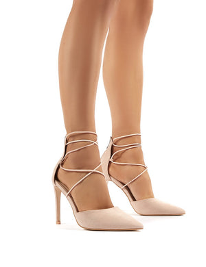 Volt Nude Faux Suede Strappy Court Heels
