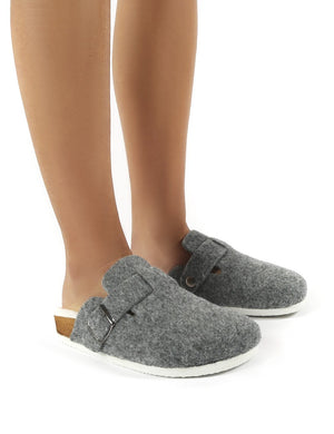Winona Grey Faux Fur Lined Clog Slippers