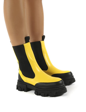 Wonder Yellow PU Chunky Sole Ankle Boots