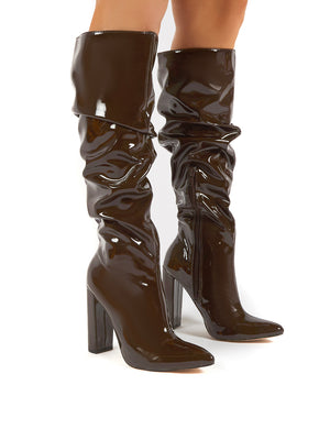 Yours Chocolate Wide Fit Patent Heeled Knee High Block Boots