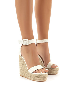 Amalie White Espadrille Wedge Heeled Sandals