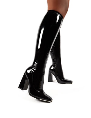 Caryn Black Vinyl Block Heeled Knee High Boots