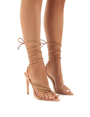Controversial Nude Strappy Lace Up High Heels