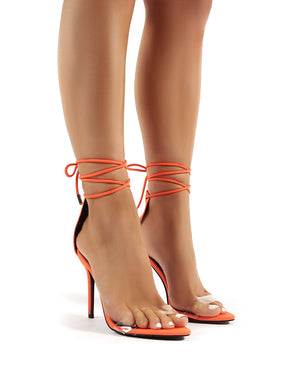 Jorja Orange Lace Up Stiletto Heels