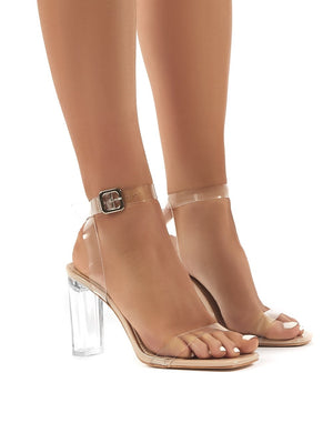 Liar Wide Fit Nude Patent High Heels