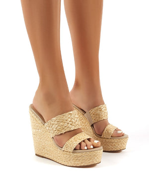 Lucia Raffia Wedge Heeled Sandals