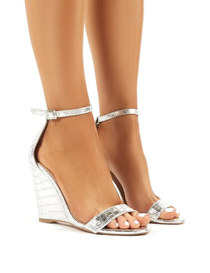 Nova Silver Croc Barely There Wedge Heels