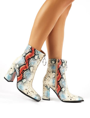 Payback Multi Snakeskin Zip Up Block Heeled Ankle Boots