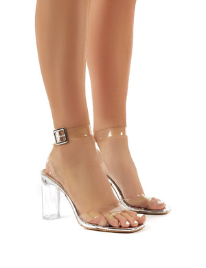Talk Wide Fit Silver Mirror Perspex High Heels