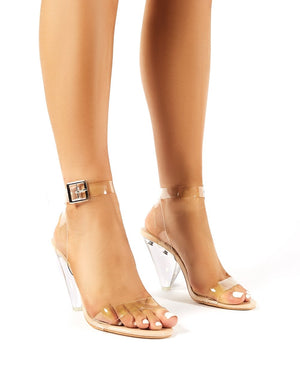 Verity Nude Patent Cone Heeled Barely Theres