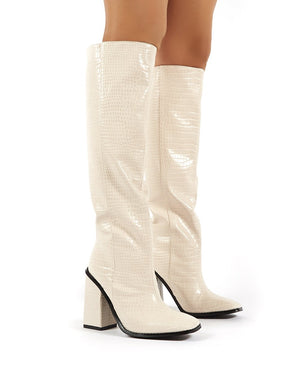Zina Beige Croc Square Toe Block Heeled Knee High Boots