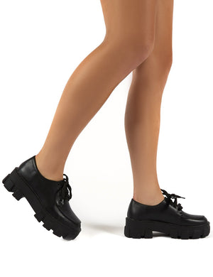 Candid Black Chunky Sole Lace Up Creeper
