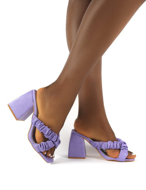 Elsa Wide Fit Lilac PU Ruched Block Heeled Mules