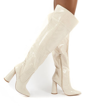 Hometown Bone Croc Over The Knee Heeled Boots