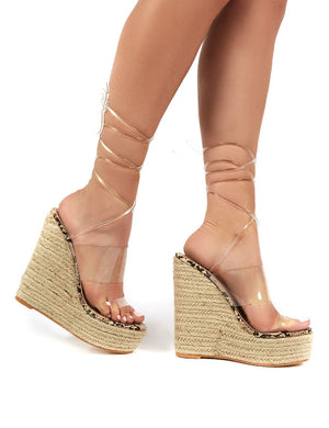 Natalia Natural Snake Perspex Wrap Around Wedge