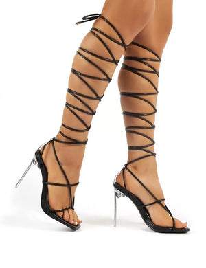 Antics Black Extreme Lace Up Strappy Perspex Stiletto Heels