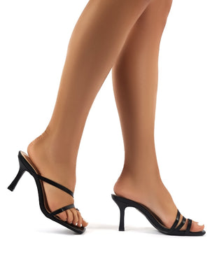 Bombshell Black PU Strappy Toe Loop High Heels