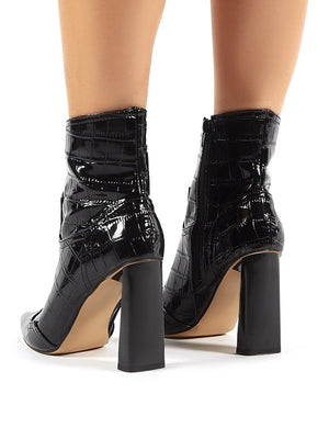 Elisa Black Patent Pointed Toe Block Heeled Ankle Boots