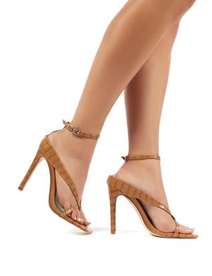 Emilia Tan Croc Strappy Stiletto High Heels