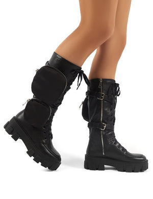 Gilda Black PU Lace Up Pouch Detail Chunky Knee High Boots
