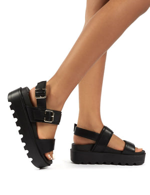 Razor Black PU Strappy Buckle Platform Sandals