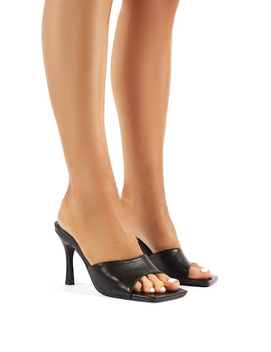 Harlow Wide Fit Black PU Heeled Mules