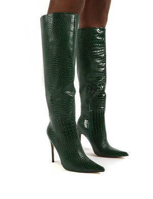 Aimi Green Croc Knee High Stiletto Heel Boots