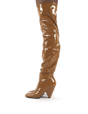 Conquer Camel Patent Thigh High Over The Knee Square Toe Cone Block Heeled Boots