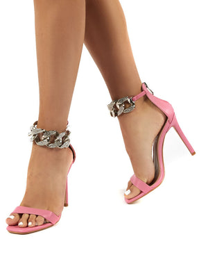 Iced Out Pink Chain Strap Heel