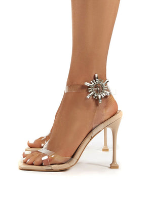 Pyramid Nude Perspex Diamante Detail Square Toe Heels