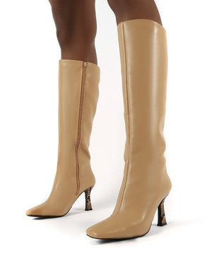 Repeat Nude Pu Heeled Knee High Boots