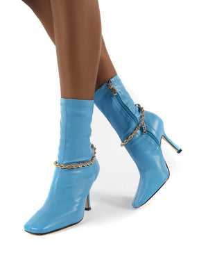 Sacci Turquoise Chain Detail Square Toe Stiletto Heel Ankle Boots