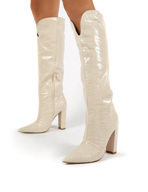 Slow Nude Croc Knee High Block Heel Boots