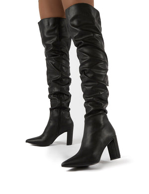 Theirs Black PU Over the Knee Boots