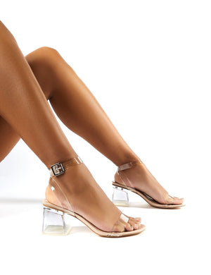 Afternoon Perspex Block Mid Heels in Nude Patent
