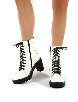 Fearne White Lace Up Chunky Heeled Ankle Boots