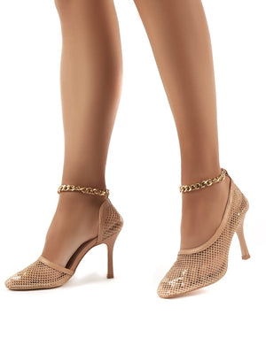 Odyssey Nude Chain Detail Fishnet High Heels