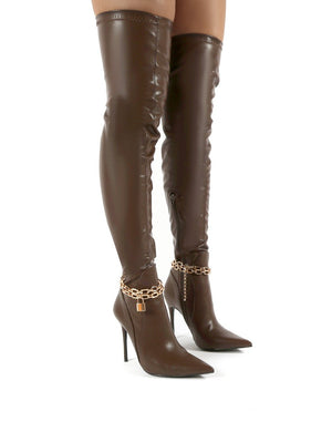 Cherri Chocolate Thigh High Padlock Chain Detail Stiletto Heeled Boots