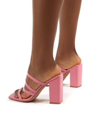 Kalia Pink Wide Fit Strappy Block Heel