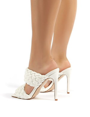 India White PU Stiletto Heeled Mules