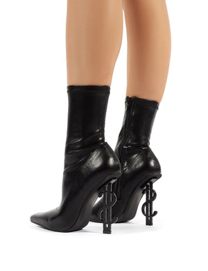 Money Maker Black PU Statement Heel Sock Fit Ankle Boots