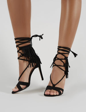 Montana Fringed Lace Up Heels in Black Faux Suede