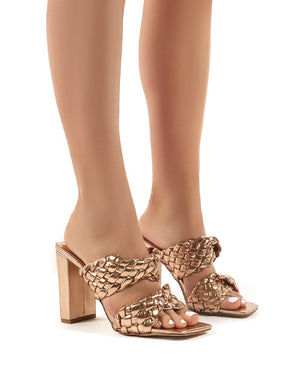 Raye Rose Gold Woven Twist Strap Block Heeled Mules