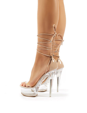 Show Off Nude Patent Lace Up Perspex Platform Stiletto High Heels