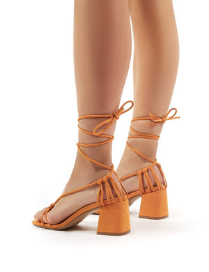 Yola Orange Faux Suede Strappy Block Heeled Lace Up Sandals