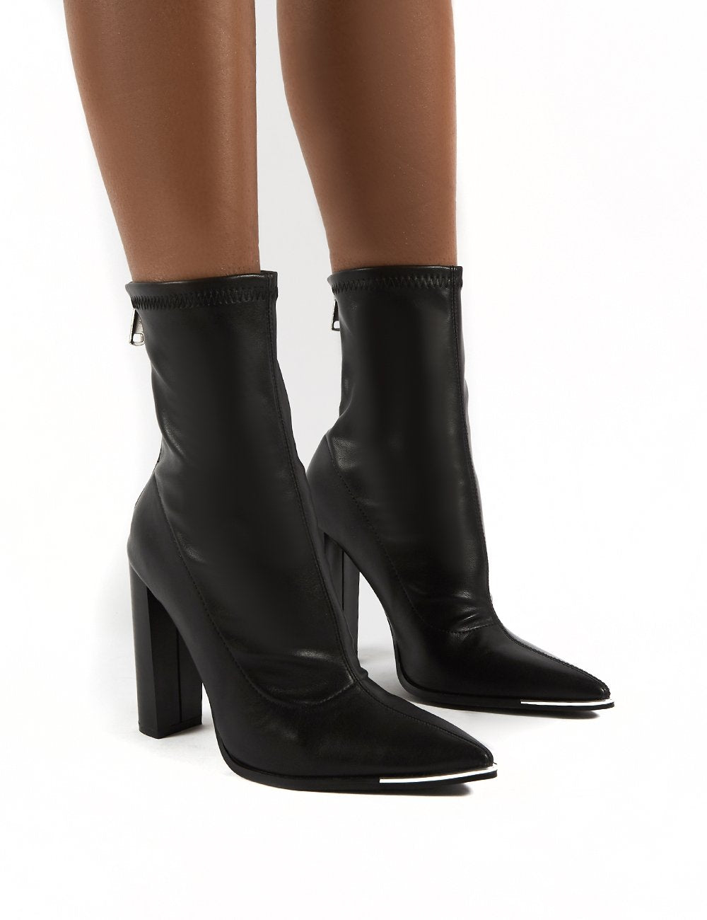 Affection Black Pu Block Heeled Ankle Boots - Us 6