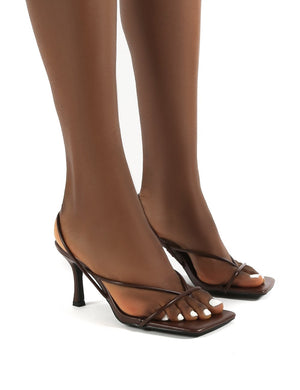 Annika Chocolate Wide Fit Square Toe Strappy Heels