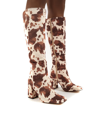 Apology Cowhide Knee High Block Heel Boots