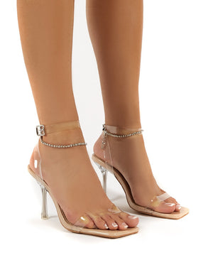 April Nude Wide Fit Perspex Diamante Ankle Chain Square Toe Heels