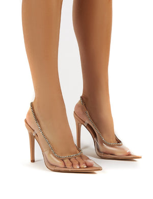 Aurora Nude Wide Fit Perspex Diamante Detail Stiletto Heels